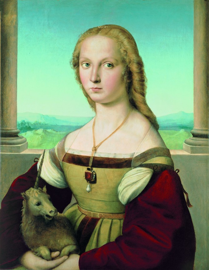 Raphael (1483–1520), Portrait of a Lady with a Unicorn, ca. 1505–1506. Oil on canvas, transferred from panel, 26 5/8 x 20 15/16 in. (67.7 x 53.2 cm). Galleria Borghese, Rome, inv 371 (Bildquelle Legion of Honor)